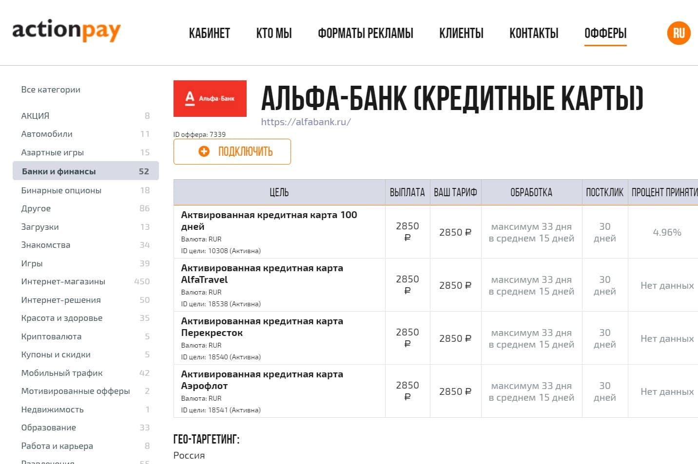 Партнерки банков Actionpay